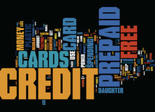 Free Prepaid Credit Cards Friendly Plastic For The Very Young Pocket Text Background Word Cloud Concept Royalty Free Stock Photos