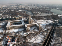 Free Press House - aerial view. The House of Free Press (Casa Presei Libere in romanian) from Bucharest, Romania.The building was named Polygraphic Plant House Stock Image