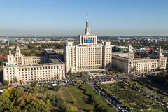 Free Press House - aerial view. The House of Free Press (Casa Presei Libere in romanian) from Bucharest, Romania.The building was named Polygraphic Plant House stock photo