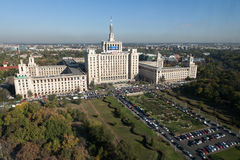 Free Press House - aerial view. The House of Free Press (Casa Presei Libere in romanian) from Bucharest, Romania.The building was named Polygraphic Plant House Stock Images