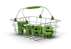 Free product. Word free inside a metal basket over a white background. Color is green Royalty Free Stock Image
