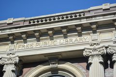 Free Public Library. Exterior view of a free public library Stock Photos