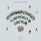 Free public wi-fi hotspot vector crowd people WiFi sign wireless Royalty Free Stock Images