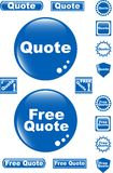 Free Quote Glossy Button Blue Icon Stock Photos