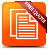 Free quote orange square button red ribbon in corner. Free quote isolated on orange square button with red ribbon in corner abstract illustration Stock Image