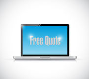 Free quote sign laptop message illustration. Design over a white background Stock Images