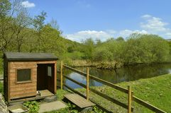 Free range chicken coop. At the e of the River Tame in Friezland in the Peak District National Park stock photo