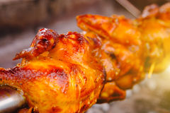 Free range chicken for roasting traditional at street food vendor market , thai local food. Selective focus stock photos