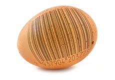 Free-range egg with bar code Stock Photography