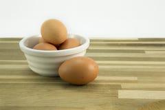 Free range eggs. Free range eggs in a white bowl Royalty Free Stock Photos