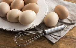 Free Free Range Eggs In Bowl, Whisk, Napkin. Royalty Free Stock Image - 94412056