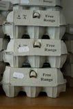Free range eggs stacked Stock Photo