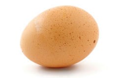 Free-range Ei auf Weiß Stockfoto