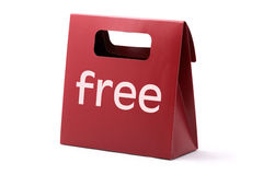 Free red bag. Red elegance carton bag with FREE word isolated on a white background royalty free stock photography