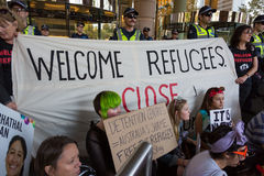 Free Refugee Rally - Don't Send Them Back! Stock Photos