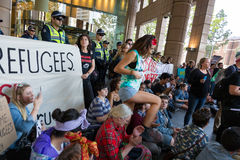 Free Refugee Rally - Don't Send Them Back! Royalty Free Stock Photography