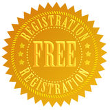 Free registration. Icon isolated over white Royalty Free Stock Images