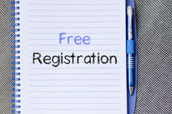 Free registration write on notebook Royalty Free Stock Photo