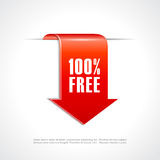 100 free ribbon tag. 100 free ribbon vector tag Royalty Free Stock Photo