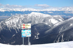 Free ride area on Chopok in Jasna ski resort with map and signs Royalty Free Stock Photos
