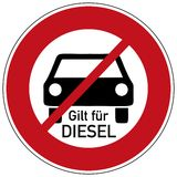 Diesel driving prohibited. German traffic sign  for diesel driving prohibited with german text for applies to diesel Royalty Free Stock Photos