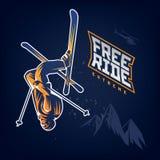 Free ride. Stunt headfirst of skier. On the dark background Royalty Free Stock Photo