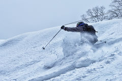 Free-rider in the powder snow. Free-rider skier in the snow mountains Royalty Free Stock Images