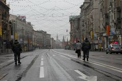 Free road to the Kremlin and police officers. Before procession of communists Stock Images