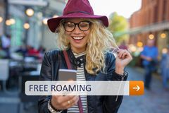 Free roaming access on your mobile phone Stock Image