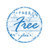 Free rubber stamp. Abstract blue scratched rubber office stamp with the word free written in the middle of the stamp Stock Photo