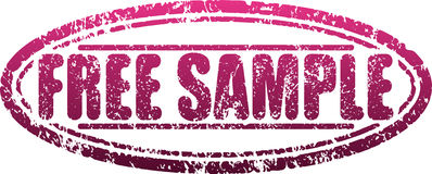 Free sample red grunge style shabby rubber stamp Stock Image