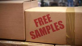 Free samples cartons at logistics center stock video footage