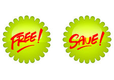 Free and save icon. Is a good design for supermarket promotion Stock Images