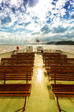 Free seat on the deck of the ferry in Norway Royalty Free Stock Image