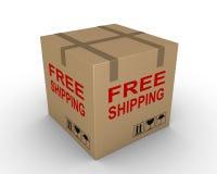 Free shipment of carton box. Carton box with free shipping label on it Stock Image