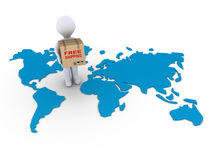 Free shipment to the whole world. 3d person holding a free shipment box on a world map Royalty Free Stock Photos