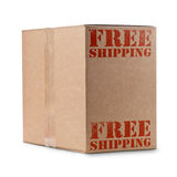 Free shipping. Carton box with free shipping written in red color royalty free stock photos
