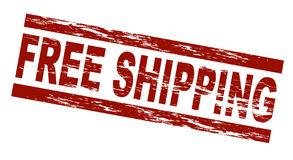 Free shipping. Stylized red stamp in grunge optic showing the term free shipping. All on white background royalty free illustration