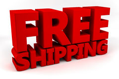 Free Shipping. Written in 3D bold red letters against a white background royalty free illustration