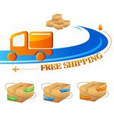 Free Shipping. Vector illustration of free shipping trolley with carton box Stock Photo