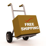 Free shipping. A carton on handcart labeled free shipping with a red check mark vector illustration