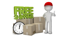 Free shipping. Render of a free shipping text delivery with a man with cardboads and a clock Stock Photo
