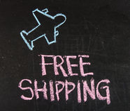 Free shipping. On chalk board stock photo