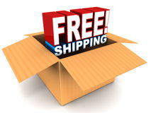 Free shipping. Text coming out of a box on white background, cardboard box on white background vector illustration