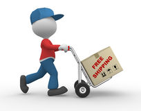 Free shipping. 3d people - man, person with hand truck and packages. Postman. Free shipping Royalty Free Stock Images