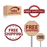 Free shipping. Advertisement labels for free shipping - a great offer for customers stock illustration