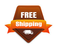 Free Shipping Badge. Brown free shipping badge with a white truck icon Royalty Free Stock Image