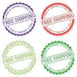 Free Shipping badge isolated on white background. Flat style round label with text. Circular emblem vector illustration Royalty Free Stock Photography
