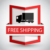 Free shipping badge with on white background. Stock Photo