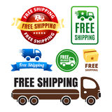 Free Shipping Badges And Icons. Colorful set of free shipping and delivery graphics Stock Photos
